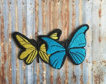 BUTTERFLY Blue ywllow Girls Party Animal Pretty Embroidered Iron On Or Sew On Patch