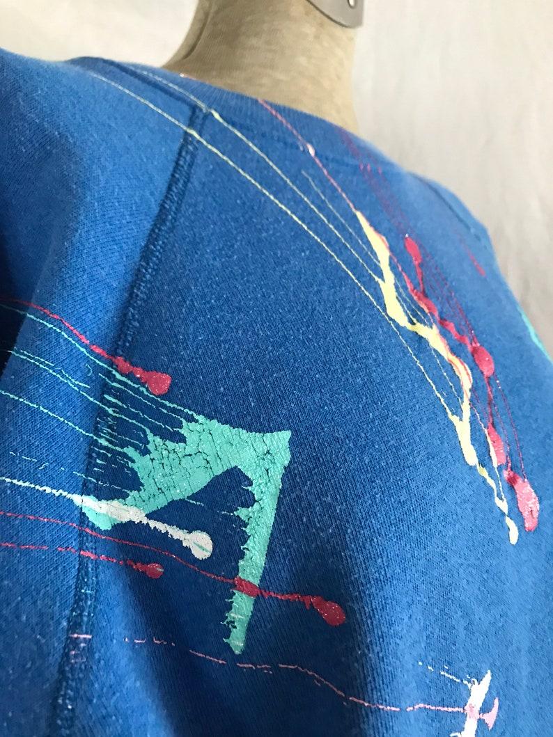 Sweatshirt Hanes Blue Paint Splatter Graffiti Vintage 80/'s Retro Large
