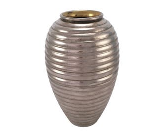 Ribbed Metal Vase