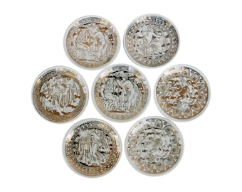 "Set of Seven ""Mitologia"" Porcelain Coasters by Piero Fornasetti"