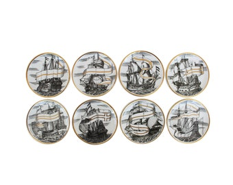"Complete Set of Eight ""Valieri"" Porcelain Coasters by Piero Fornasetti"