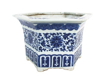 Antique Chinese Blue and White Hexagonal Ceramic Planter