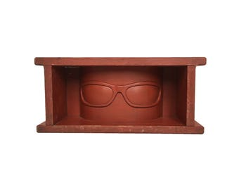 "Handmade and Carved Wooden ""Goggle"" Wall Shelf"