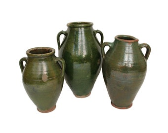 Set of Three Large Green Stoneware Amphoras