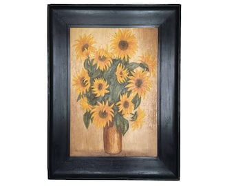 Large Framed Oil on Canvas Sunflower Painting 42'H