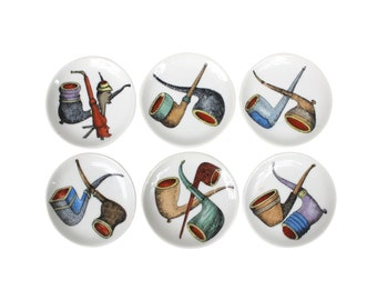 Set of Six Fornasetti Style Italian Porcelain Smoking Pipe Coasters
