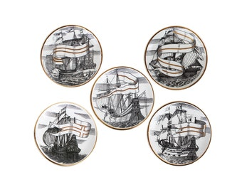 "Set of Five ""Valieri"" Ship Porcelain Coasters by Piero Fornasetti"