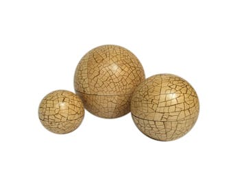 Set of Three Nesting Wood Sphere Boxes