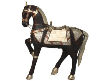 Large Tang Style Wood and Metal Horse Sculpture