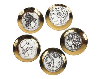 Set of Five Monete Fornasetti Style Bucciarelli Gilt Porcelain Coasters