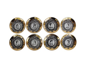 "Complete Set of Eight ""Profili Romani"" Porcelain Coasters by Piero Fornasetti"