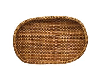 Large Flat Hand Woven Basket