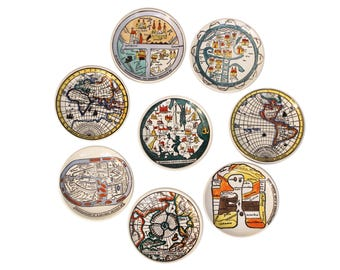 "Set of eight ""Antichi Planisferi"" Porcelain Coasters by Piero Fornasetti"