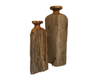 Set of Two Rustic Modern Wood Vases