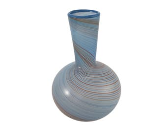 Dansk Blue and Brown Swirl Glass Vase