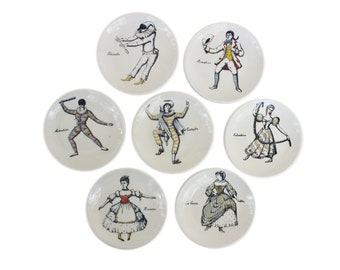 "Set of Seven ""Maschere Italiane"" Porcelain Coasters by Piero Fornasetti"