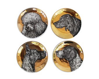 Set of Four Gilt Porcelain Dog Coasters by Piero Fornasetti