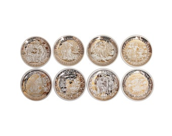 "Set of Eight ""Mitologia"" Porcelain Coasters by Piero Fornasetti"