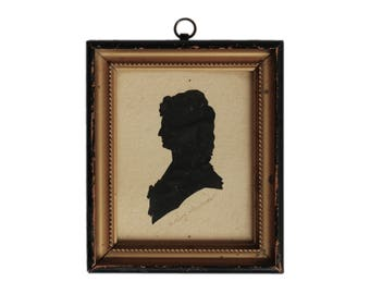 Antique German Marie Antoinette Framed Silhouette