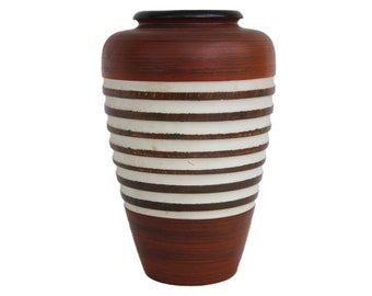 German Red Brown White Ribbed Pottery Vase
