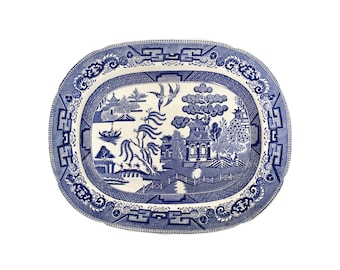 Early 19th Century English Blue and White Willow Pattern Platter