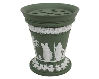 Sage Green Jasperware Wedgwood Vase with Frog