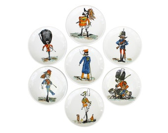 Set of Seven Soldier Caricature Porcelain Coasters by Piero Fornasetti for Bucciarelli