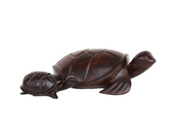 Set of Two Rosewood Turtles
