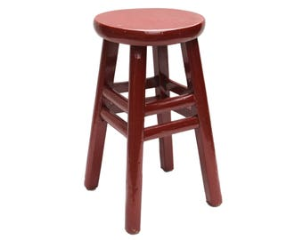 Vintage Red Lacquer Chinese Wood Stool