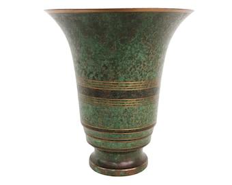 Round Verdigris Bronze Vase by Carl Sorensen