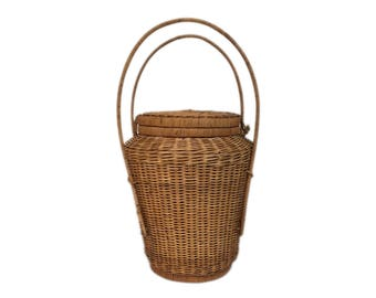 Large Wicker Lidded Basket with Handles
