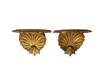 Pair of Italian Gilt-wood Shell Brackets