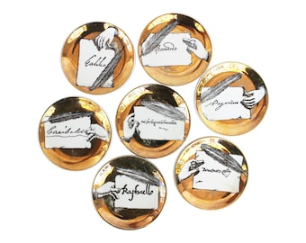 "Set of Seven Rare ""Autografi"" Porcelain Coasters by Piero Fornasetti"