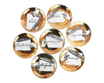 "Set of Seven Rare ""Autografi"" Porcelain Coasters by Piero Fornasetti"