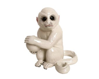 White Italian Ceramic Monkey