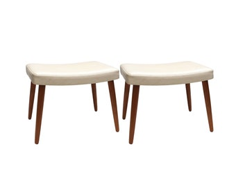 Pair of Upholstered Danish Stools