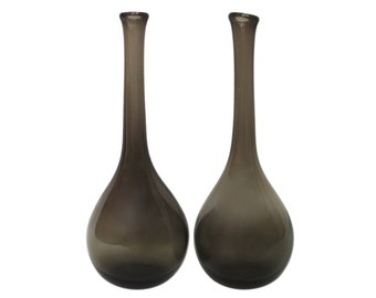 "Pair of 12.5"" Handblown Smoke Glass Bottle Vases"