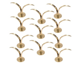 Set of 11 Elegant Liljan Brass Candlestick Holders by Ivar Alenius-Bjork for Ystad-Metall