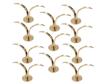 Set of 10 Elegant Liljan Brass Candlestick Holders by Ivar Alenius-Bjork for Ystad-Metall