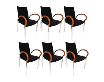 Set of Six Modern Italian Bentwood and Chrome Dining Chairs by Loewenstein