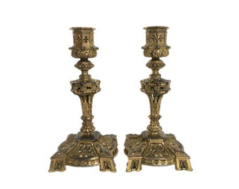 Pair of Ornate Brass Candlesticks