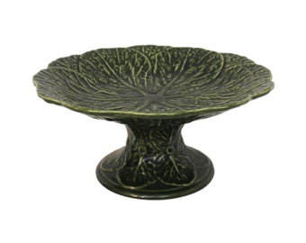 Green Cabbage Leaf Footed Compote/ Bowl