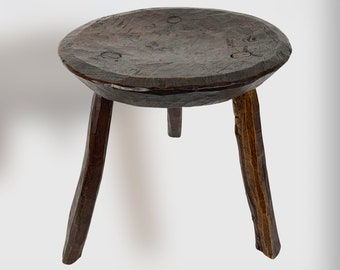 Vintage Mid Century Primitive Wood Stool