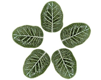 Set of Five Green Cabbage Plates