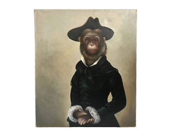 Stylish Monkey Portrait Oil on Canvas Painting