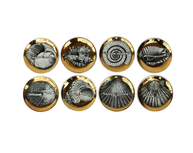 "Featured listing image: Complete set of Eight ""Conchyliorum"" Gilt Porcelain Coasters by Piero Fornasetti"