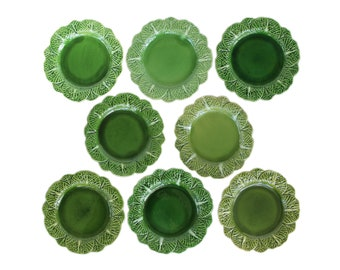 Set of Eight Green Cabbage Plates