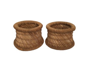 Pair of Round Twine and Bamboo Baskets