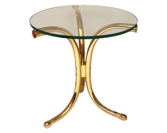 Modern Brass Side Table with Round Glass Top