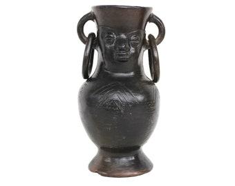 Black Ceramic African Vase